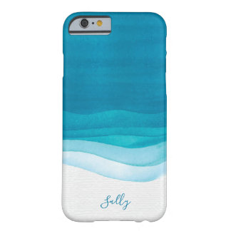 Teal, Modern Watercolor Monogram Barely There iPhone 6 Case