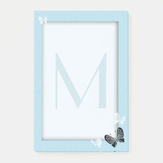 Teal Monogram and Butterflies Post-it Notes