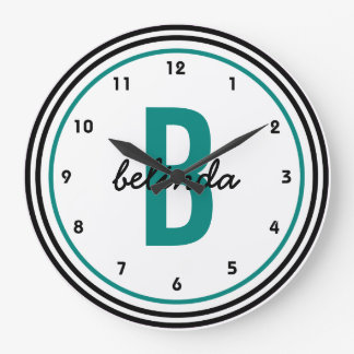 Teal Monogram Black and White Personalized Large Clock