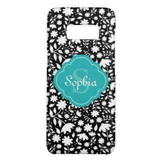 Teal Monogram Quatrefoil Black Floral Pattern Case-Mate Samsung Galaxy S8 Case