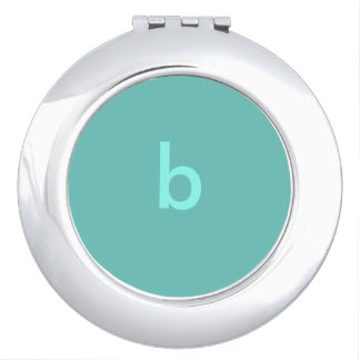 Teal Monogrammed Compact Mirror