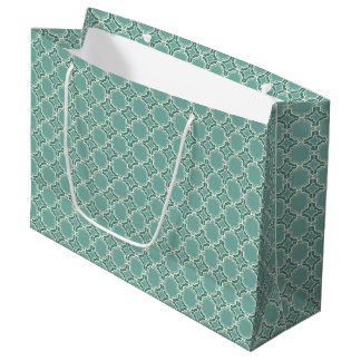 Teal Moroccan Lattice Pattern Large Gift Bag