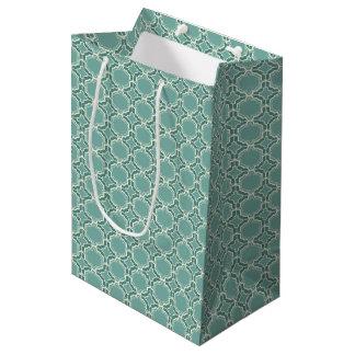 Teal Moroccan Lattice Pattern Medium Gift Bag