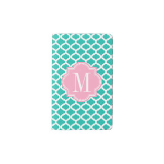 Teal Moroccan Pattern with Pink Monogram Pocket Moleskine Notebook
