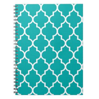 Teal Moroccan Quatrefoil Pattern Spiral Note Book