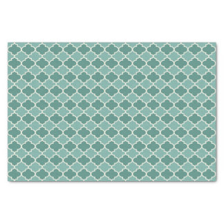 Teal Moroccan Quatrefoil Pattern Tissue Paper