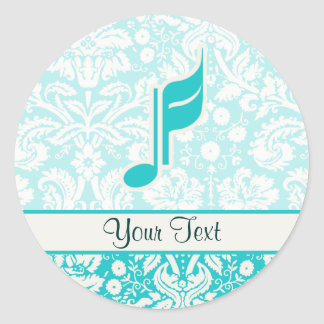 Teal Music Note Classic Round Sticker