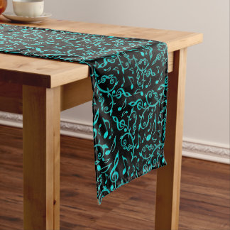 Teal Music Note Pattern Long Table Runner