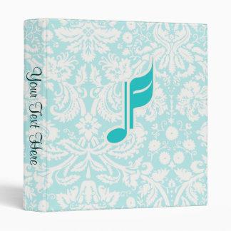 Teal Music Note Vinyl Binder
