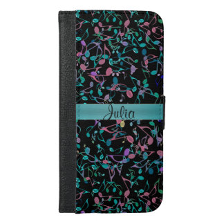Teal Music Notes Personalized Wallet Case