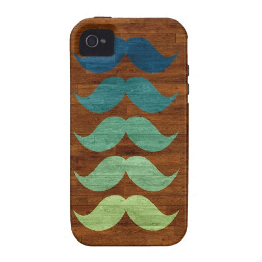 Teal Mustaches on Wood Texture Case-Mate iPhone 4 Cover