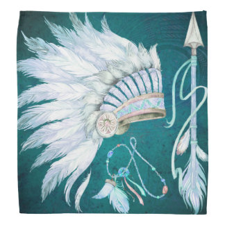 Teal Native American Headdress Arrow southwest Bandana