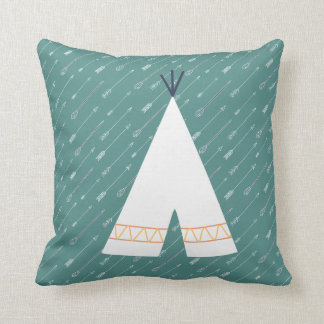 Teal Native American Pillow Tee Pee
