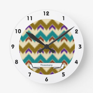 Teal Native Tribal Chevron Pattern Wall Clock