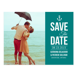 TEAL NAUTICAL SCRIPT PHOTO SAVE THE DATE POSTCARD