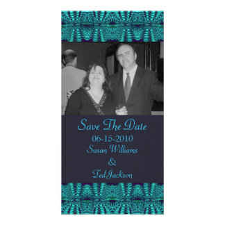Teal Navy Abstract Personalized Photo Card