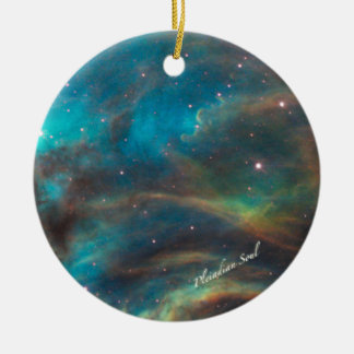 Teal Nebula Round Ornament #1