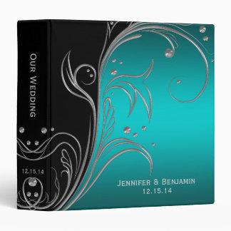 Teal noir et album photos floral argenté de classeur 3 anneaux