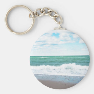 Teal Ocean, Sandy Beach Keychain