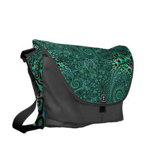 Teal Octopus Tentacles Steampunk Style Fractal Art Messenger Bag
