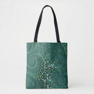 Teal Octopus Tentacles Steampunk Style Fractal Art Tote Bag