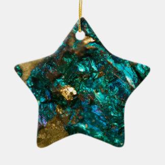 Teal Oil Slick and Gold Quartz Ceramic Ornament