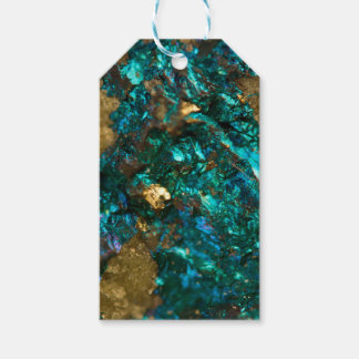 Teal Oil Slick and Gold Quartz Gift Tags