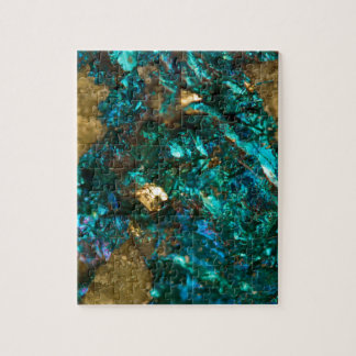 Teal Oil Slick and Gold Quartz Jigsaw Puzzle