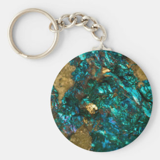 Teal Oil Slick and Gold Quartz Keychain