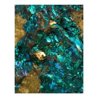 Teal Oil Slick and Gold Quartz Letterhead