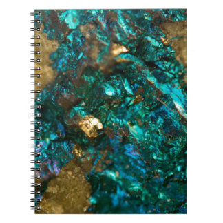 Teal Oil Slick and Gold Quartz Notebook