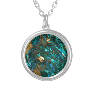 Teal Oil Slick and Gold Quartz Silver Plated Necklace