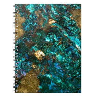 Teal Oil Slick and Gold Quartz Spiral Notebook