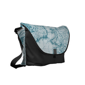 Teal Old World Antique Map Messenger Bag