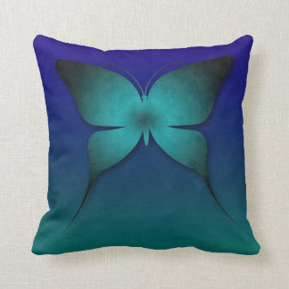 Teal Ombre Butterfly Pillow