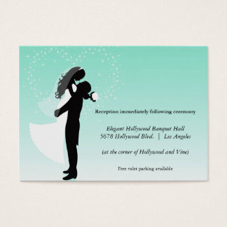 Teal Ombre Silhouette Wedding Reception Card