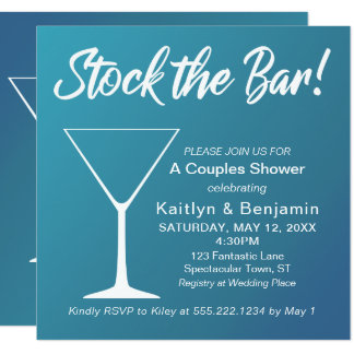 Teal Ombre Stock the Bar Script Couples Shower Card