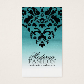 Teal Ombre Watercolour Damask Business Card