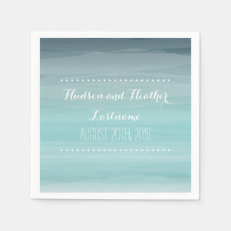Teal Ombre Wedding Napkins Paper Napkins