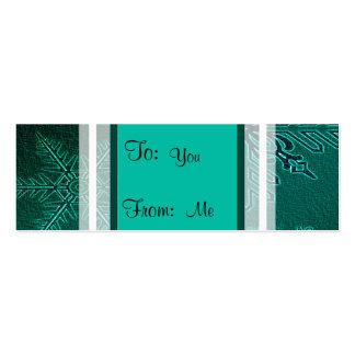 Teal on Teal Snowflakes Mini Business Card