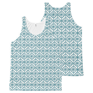 Teal on White Ethnic Pattern, Flowers, Chevrons All-Over-Print Tank Top