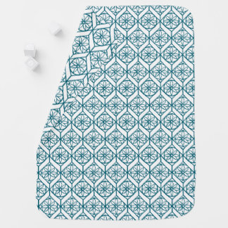 Teal on White Ethnic Pattern, Flowers, Chevrons Baby Blanket