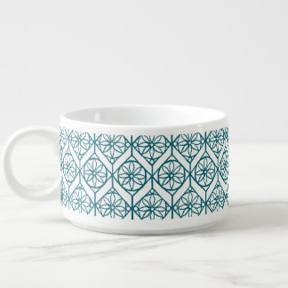 Teal on White Ethnic Pattern, Flowers, Chevrons Bowl