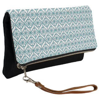 Teal on White Ethnic Pattern, Flowers, Chevrons Clutch
