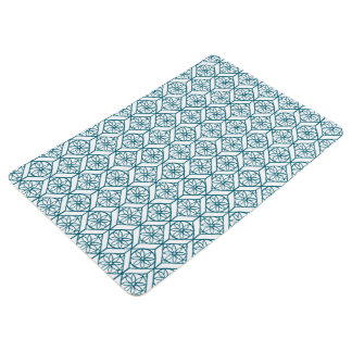 Teal on White Ethnic Pattern, Flowers, Chevrons Floor Mat