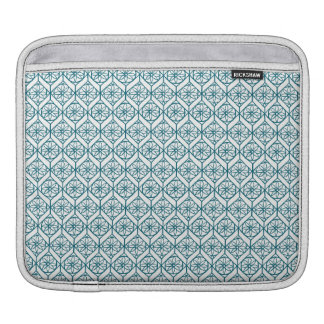 Teal on White Ethnic Pattern, Flowers, Chevrons iPad Sleeve
