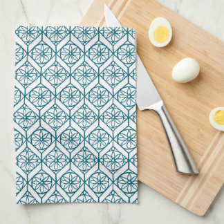Teal on White Ethnic Pattern, Flowers, Chevrons Kitchen Towel