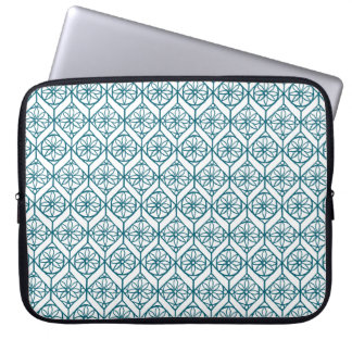 Teal on White Ethnic Pattern, Flowers, Chevrons Laptop Sleeve