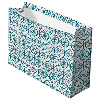Teal on White Ethnic Pattern, Flowers, Chevrons Large Gift Bag