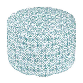 Teal on White Ethnic Pattern, Flowers, Chevrons Pouf